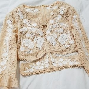 For Love and Lemons Matador Crop Top in Latte